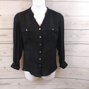 Notations Woman Button Down Roll Sleeve Top 1X